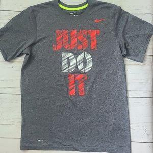 Nike Dri-fit Just Do It Tee Size Medium Grey Mens